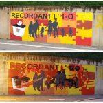 Comparativa entre el mural pintat ahir i l'estat que presenta actualment