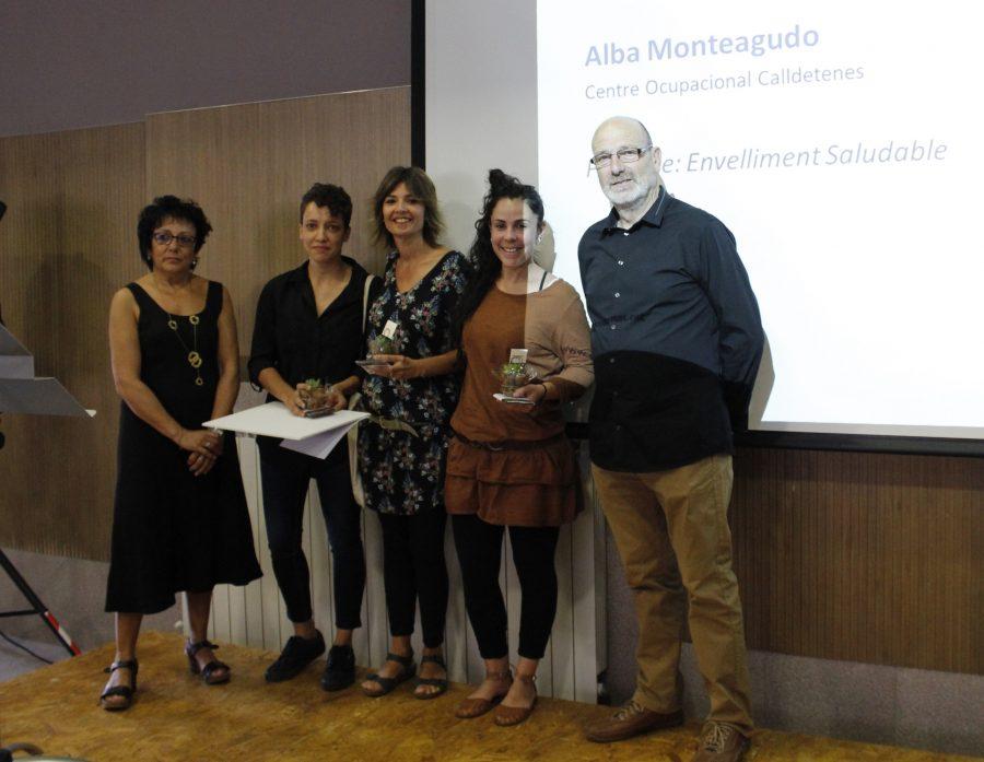 M. Àngels Manchón, Alba Monteagudo, guanyadora; Laia Gurt i Eva Roca, finalistes; i Toni Ramírez, president de Sant Tomàs