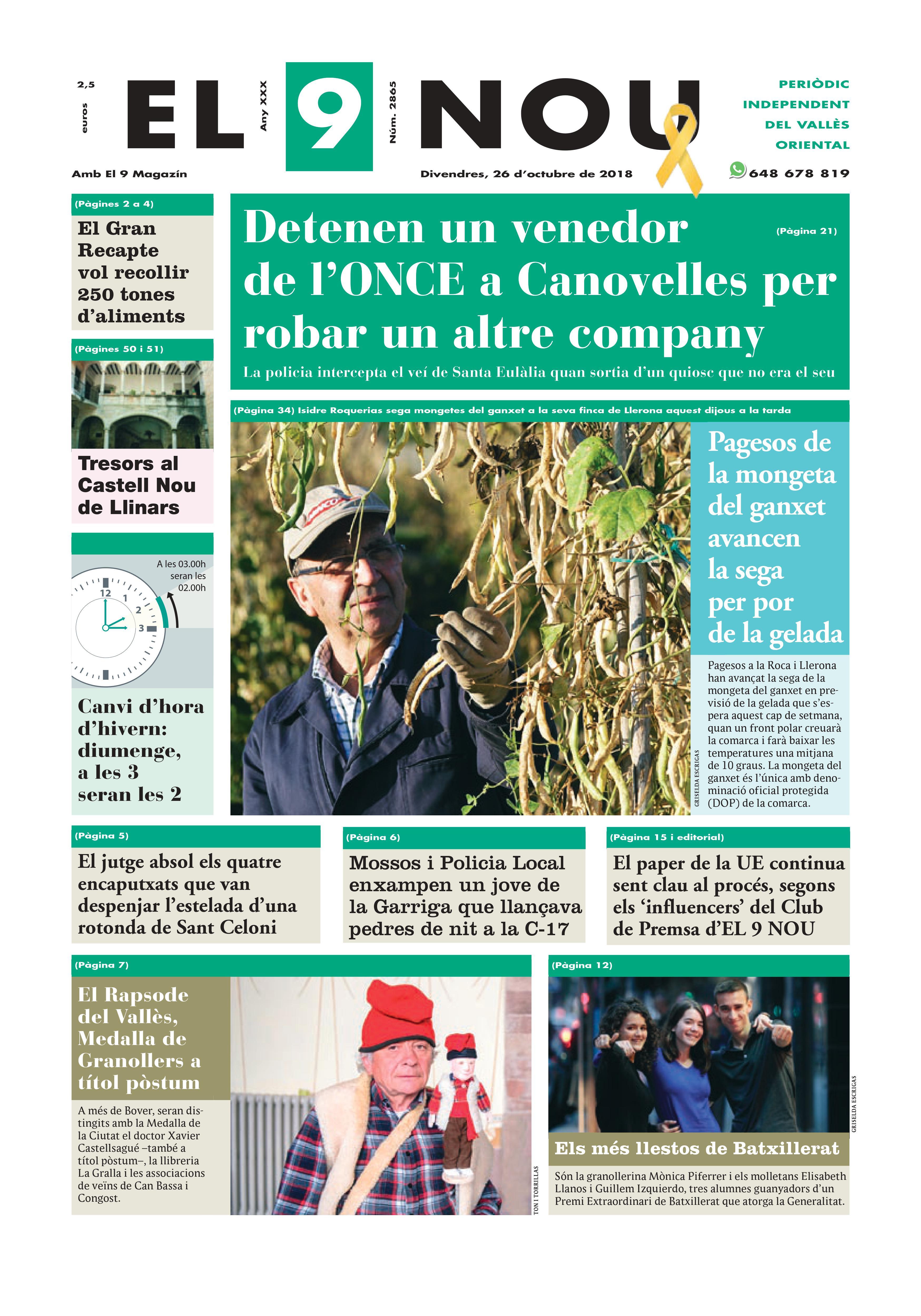 Primera plana EL 9 NOU 26_10_18 Vallès