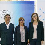 Antoni Noguera, director d'Institucions de CaixaBank a la Catalunya Central, Lurdes Baulenas, presidenta del Consell Empresarial d'Osona i Imma Puig, directora d'àrea de negoci de CaixaBank a Osona
