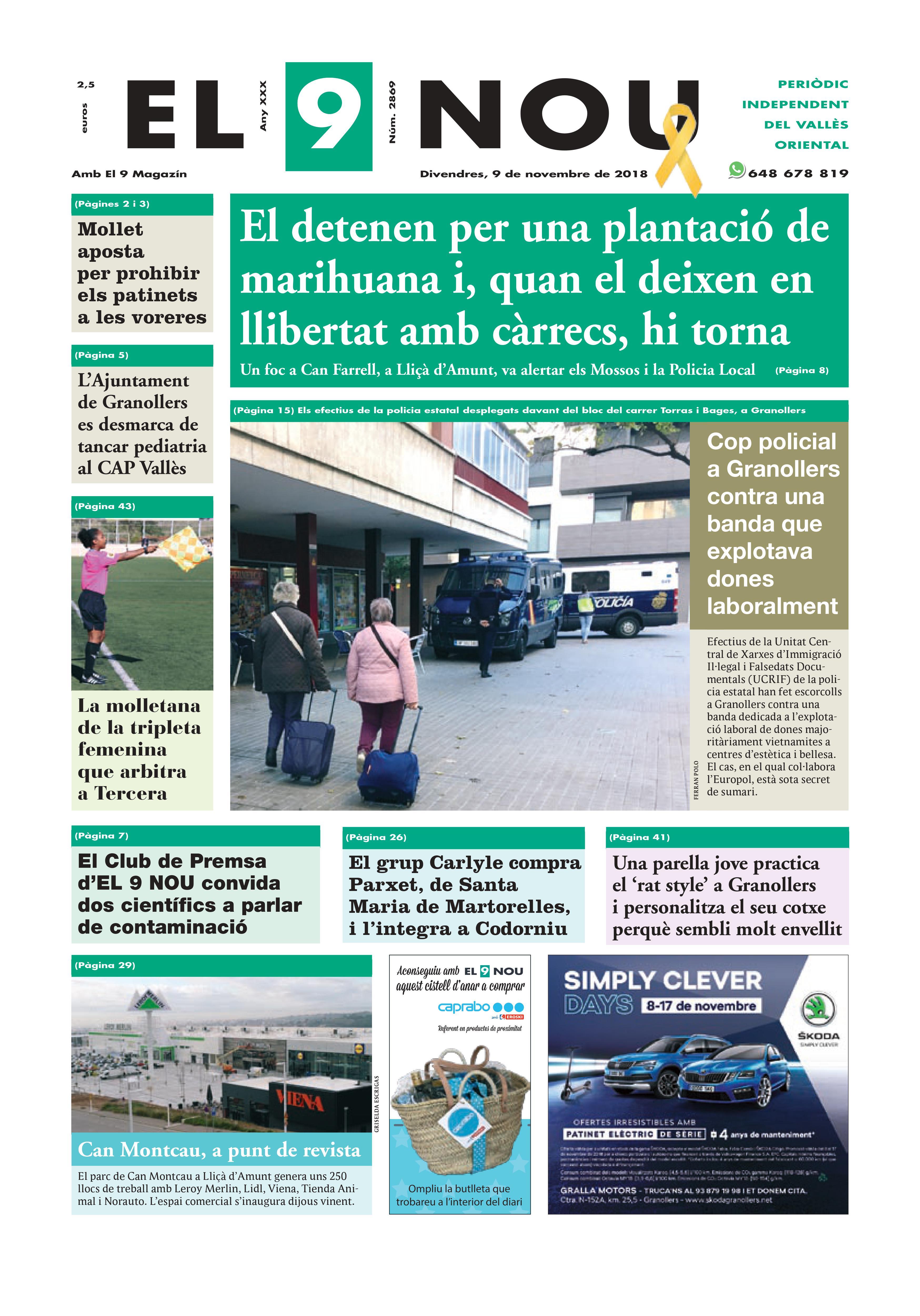 Primera plana EL 9 NOU 09_11_18 Vallès