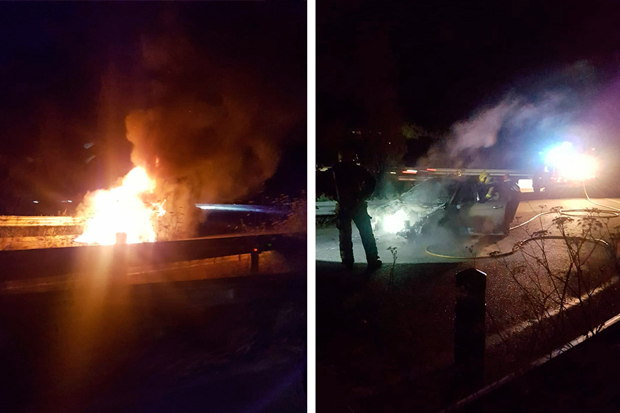 A l'esquerra el cotxe quan encara cremava i a la dreta quan els Bombers ja havien extingit el foc