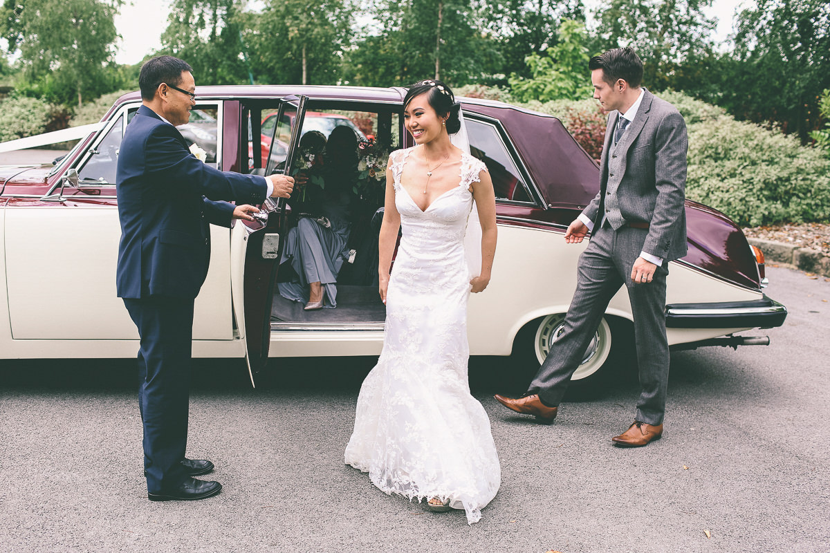 Brides arrival Styal Lodge Manchester