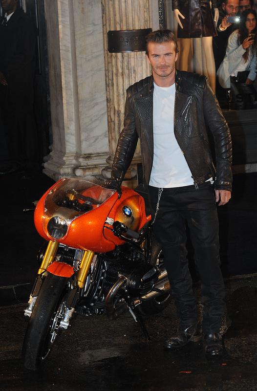 David Beckham at the Belstaff House & Celebrity Motobike Parade