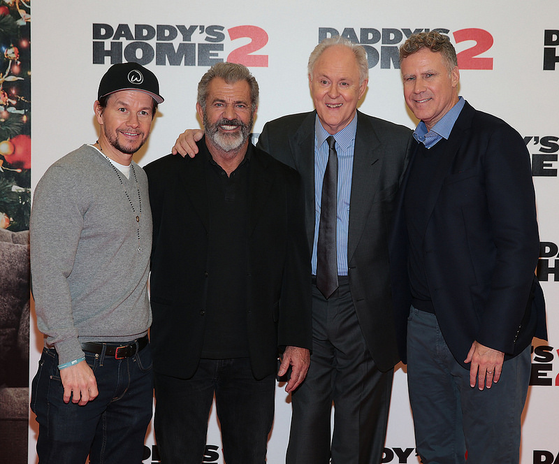 Mark Wahlberg, Mel Gibson and Will Ferrell at the Daddy's Home 2 Irish Premiere