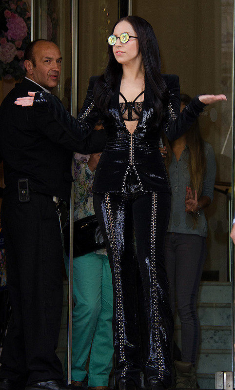 Lady Gaga leaving her hotel in London