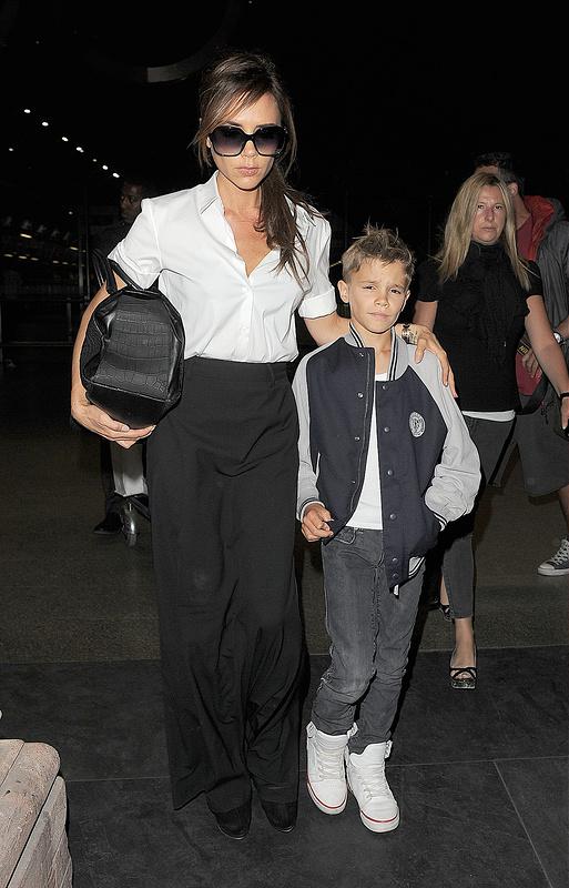 Victoria Beckham and Romeo Beckham