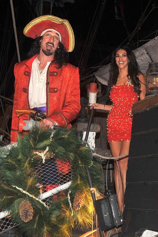 Georgia Salpa turns on the Captain Morgan Christmas lights