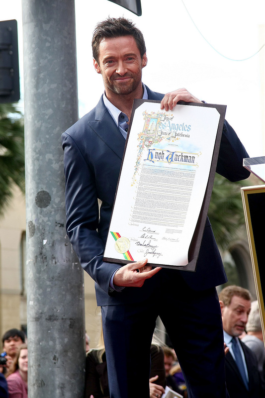 Hugh Jackman is honoured with a Hollywood Star