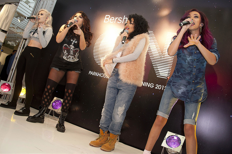 Little Mix perform live and pose for photographs at the Bershka store launch
