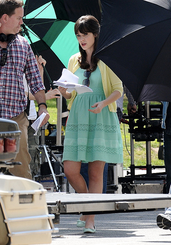 Zooey Deschanel on set for New Girl