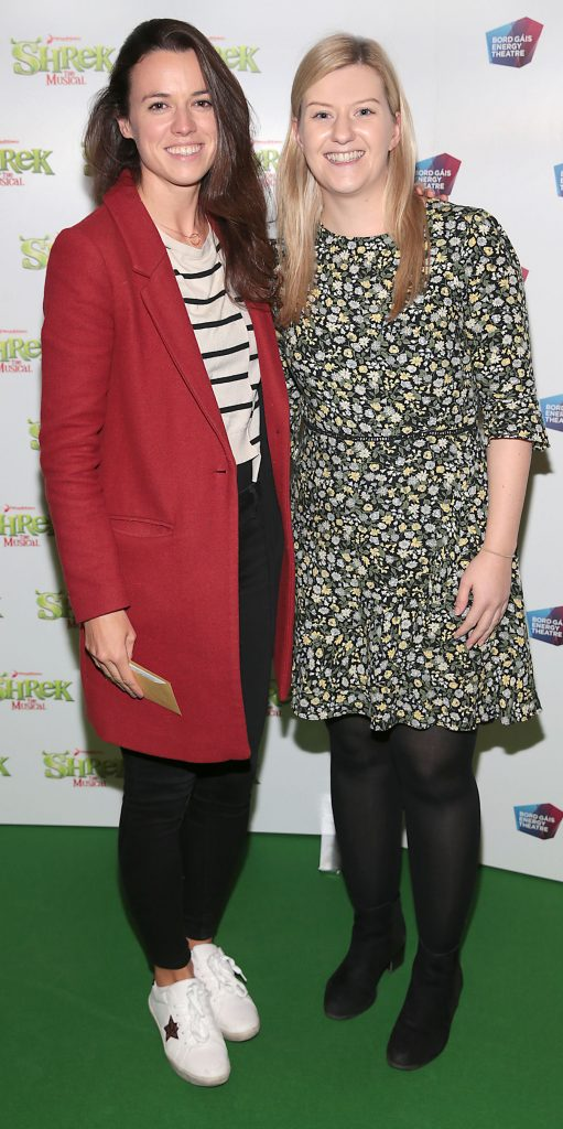 Amy Heffernan and Geraldine Murphy at the opening night of Shrek the Musical at The Bord Gais Energy Theatre, Dublin. Photo by Brian McEvoy