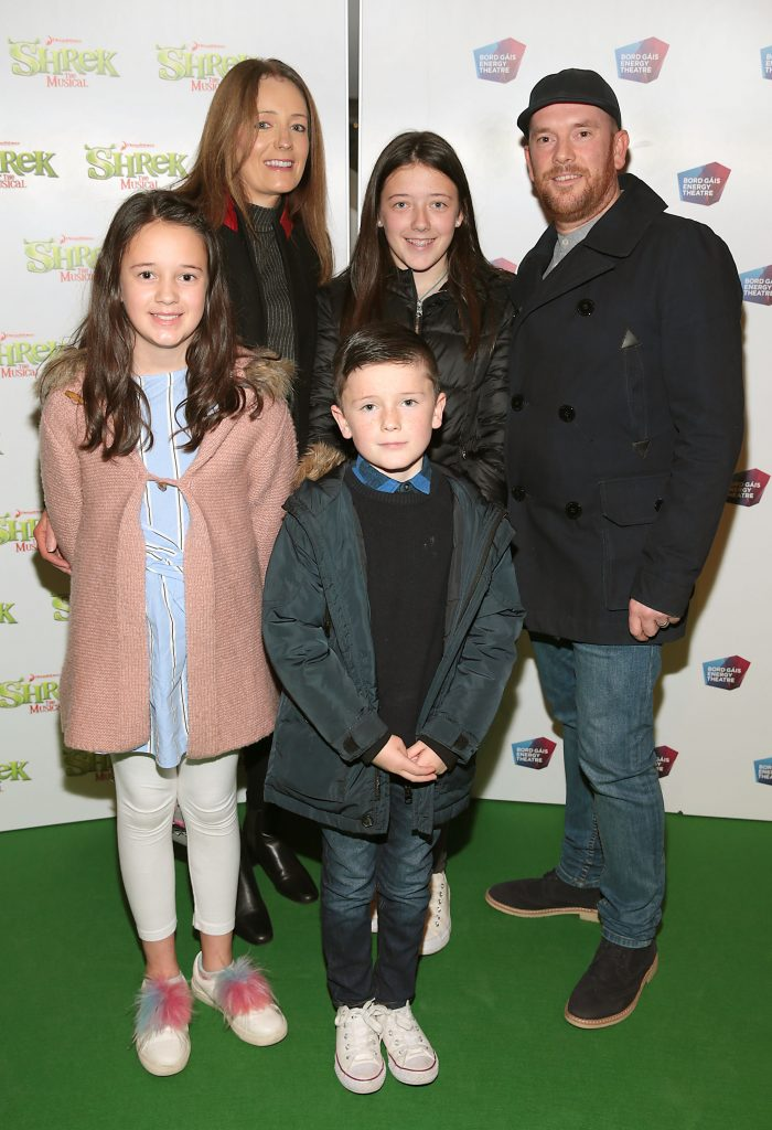 Katie Burns, Dana Burns, Holly Burns, Jack Burns and Ciaran Burns at the opening night of Shrek the Musical at The Bord Gais Energy Theatre, Dublin. Photo by Brian McEvoy
