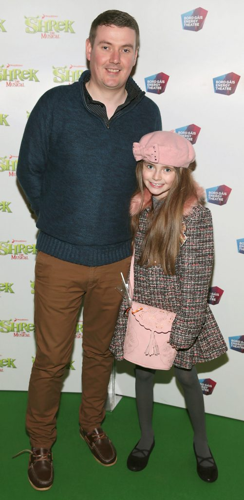 Brian Gallagher and Lily Gallagher at the opening night of Shrek the Musical at The Bord Gais Energy Theatre, Dublin. Photo by Brian McEvoy