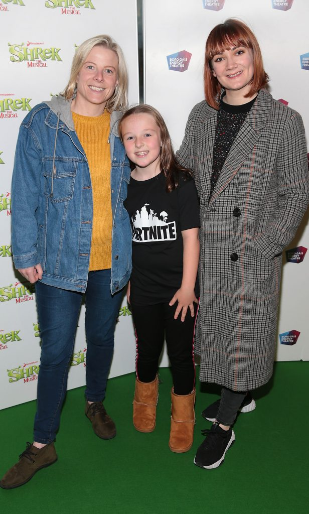 Linda Burke, Abi Burton and Sharon Gray at the opening night of Shrek the Musical at The Bord Gais Energy Theatre, Dublin. Photo by Brian McEvoy