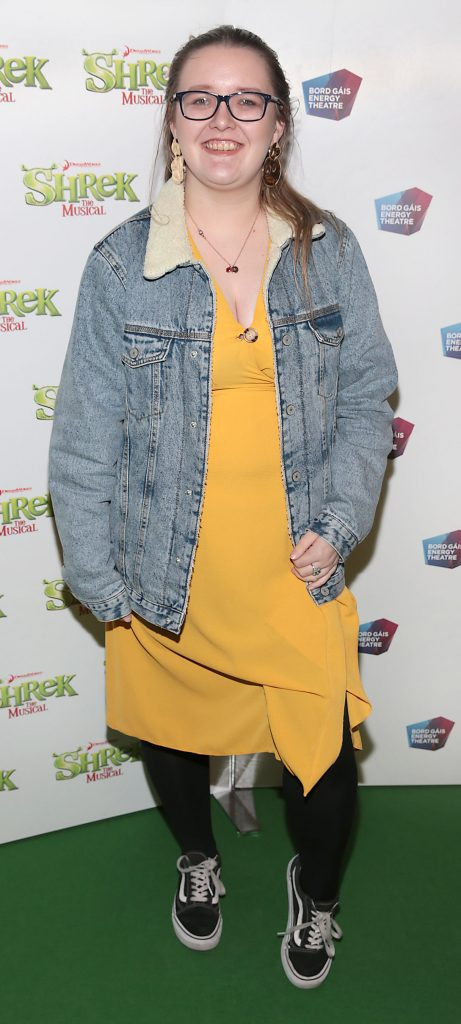 Bronwyn O Neill at the opening night of Shrek the Musical at The Bord Gais Energy Theatre, Dublin. Photo by Brian McEvoy