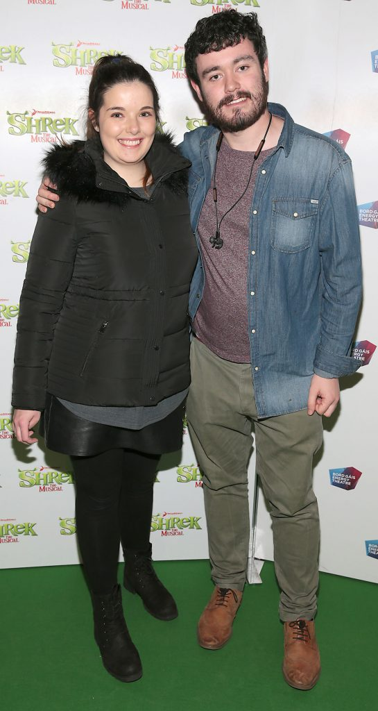 Katie Dwnes and Senan Kelly at the opening night of Shrek the Musical. Photo by Brian McEvoy