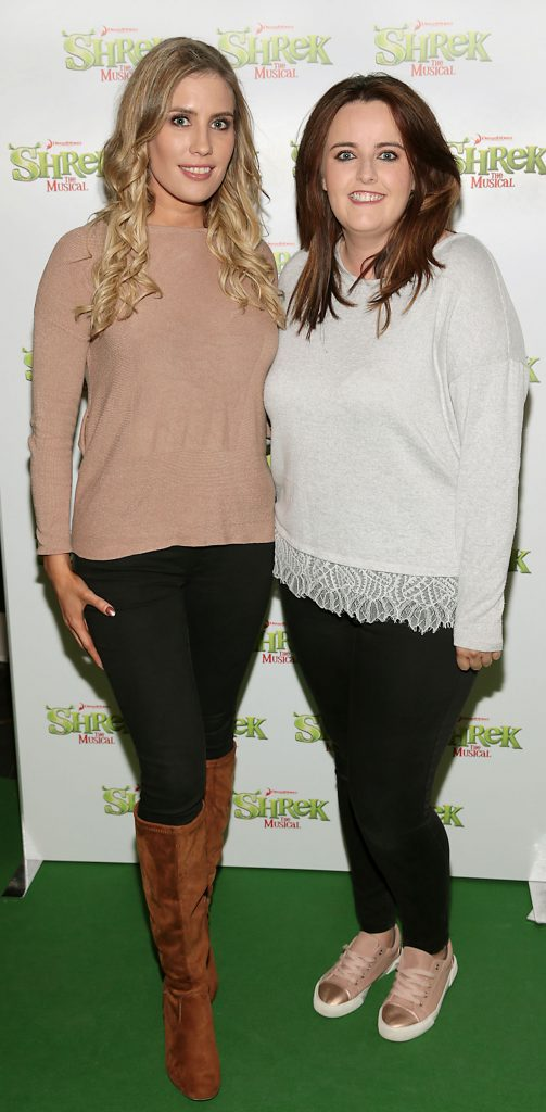 Emma Power and Katie Power at the opening night of Shrek the Musical at The Bord Gais Energy Theatre, Dublin. Photo by Brian McEvoy