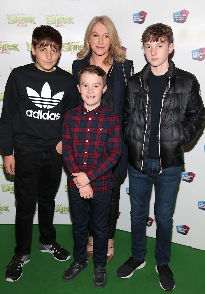 Mona Doyle with Evan Doyle, Cormack Doyle and Patrick McEnroe at the opening night of Shrek the Musical at The Bord Gais Energy Theatre, Dublin. Photo by Brian McEvoy
