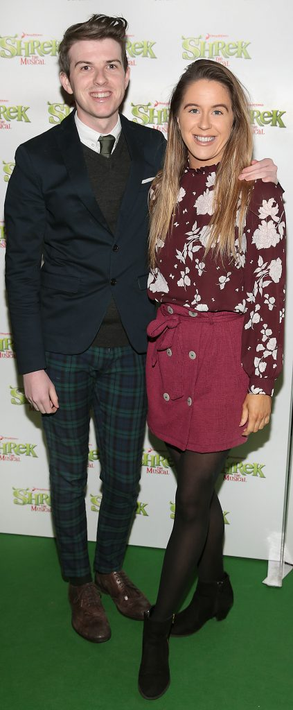 Mikie O Loughlin and Sarah Curran at the opening night of Shrek the Musical at The Bord Gais Energy Theatre, Dublin. Photo by Brian McEvoy