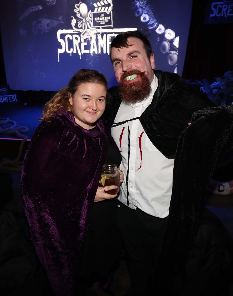 Adeane Hardy and Paddie Thompson pictured at Kraken Black Spiced Rum's immersive movie experience in Dublin with a surprise horror movie. Pic Robbie Reynolds