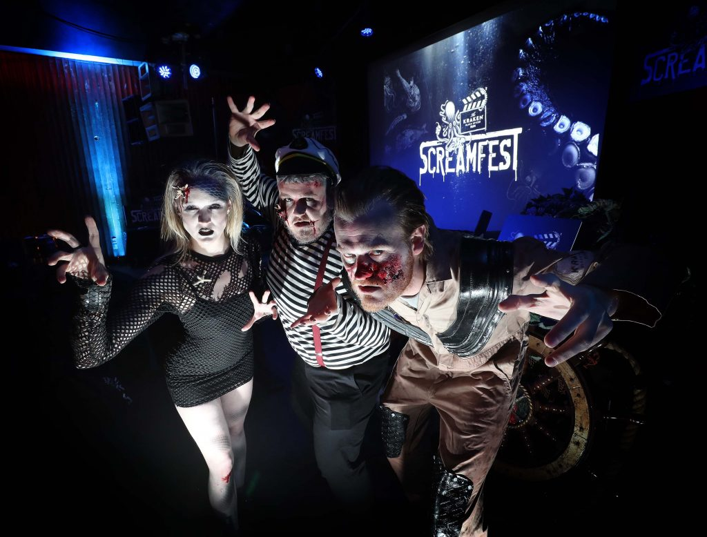 Anna Breen (left) with John Tallon and Shane Walsh pictured at Kraken Black Spiced Rum's immersive movie experience in Dublin with a surprise horror movie. Pic Robbie Reynolds