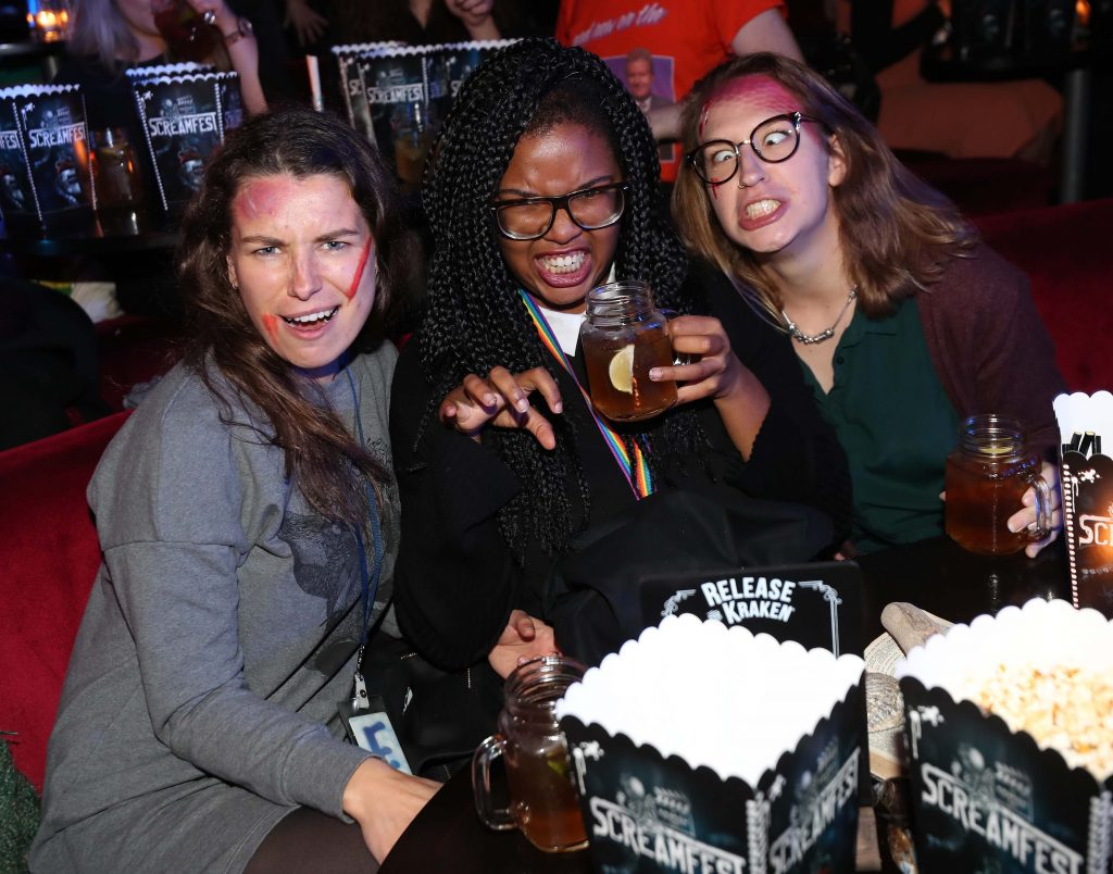 Elina Macius (left) with Kelsey Rovb and Valerie Gunthel pictured at Kraken Black Spiced Rum's immersive movie experience in Dublin with a surprise horror movie. Pic Robbie Reynolds