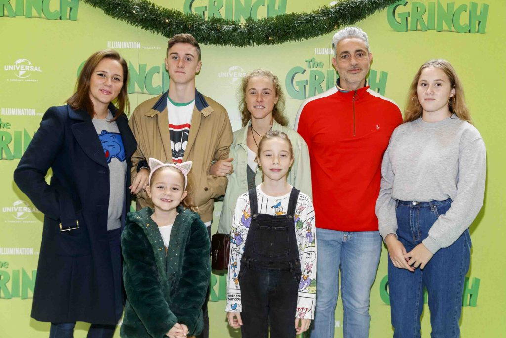 Baz Ashmawy and partner Tanya Evans with their family pictured at the Irish premiere screening of The Grinch at ODEON Point Village, Dublin. Picture Andres Poveda