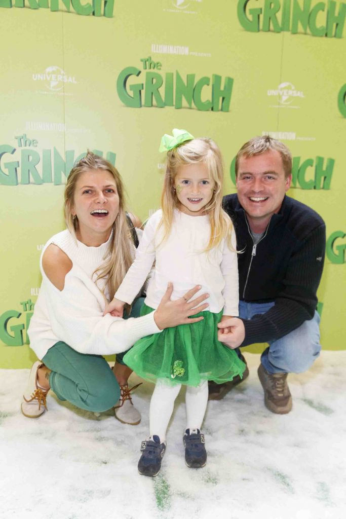 Inga, Maya (3) and Mark Murphy pictured at the Irish premiere screening of The Grinch at ODEON Point Village, Dublin. Picture Andres Poveda