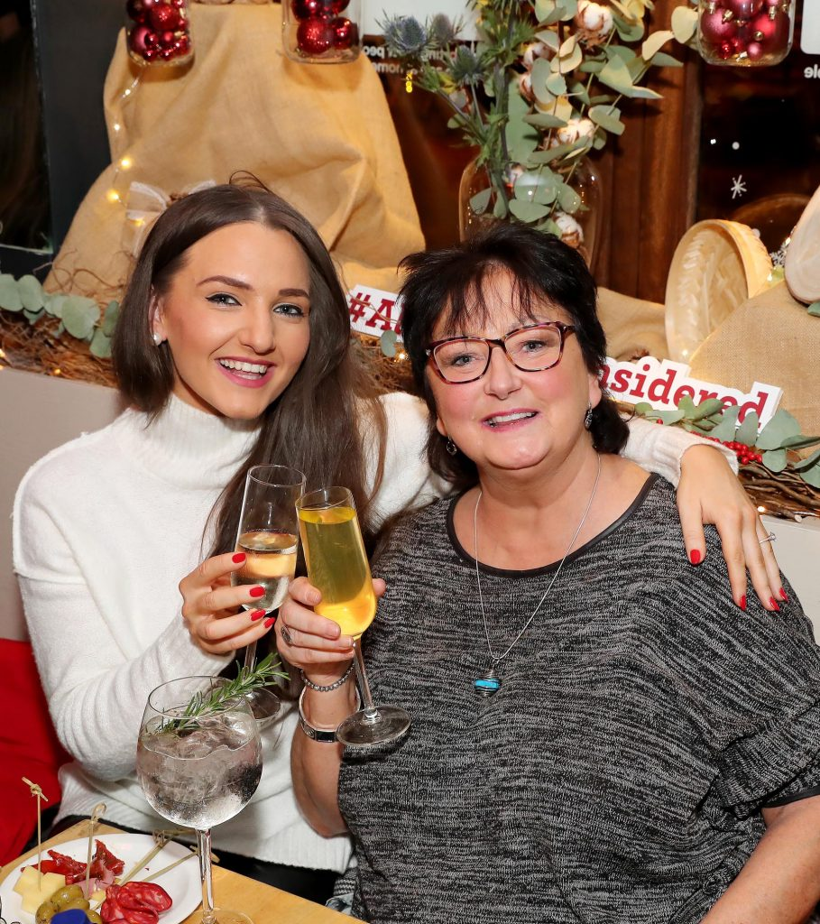 Belle Azzure and Noeleen O'Connell pictured at the launch of the SuperValu All Things Considered Christmas Café in aid of ALONE.   Pic: Marc O'Sullivan