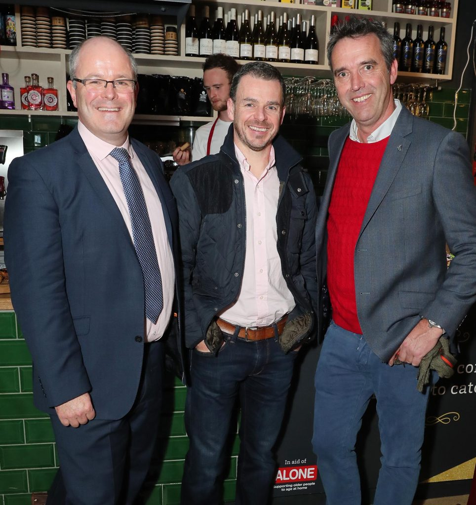 Pictured are Des O'Mahony is Marketing Director of Supervalu, Michael Morgan MD Musgrave Operating Partners Ireland and Kevin Dundon at the launch of the SuperValu All Things Considered Christmas Café in aid of ALONE.    Pic: Marc O'Sullivan