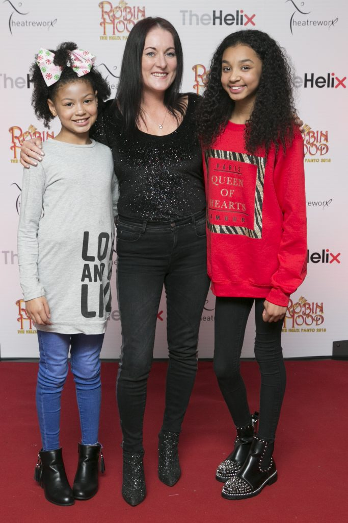 Pictured are Maddison, Georgie and Jasmine Hickey at the opening night of The Helix Pantomime, Robin Hood on Saturday night.   Photo: Leon Farrell/Photocall Ireland.