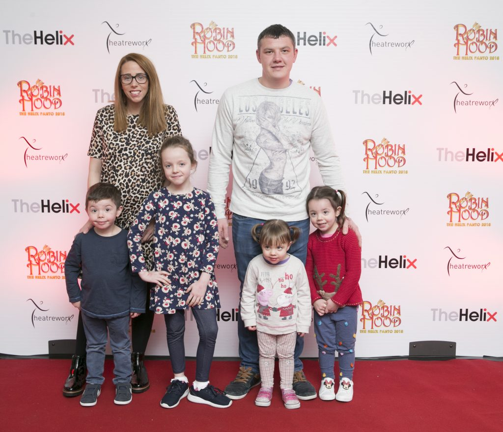 Pictured Kiliie,Frankie,Kayle,Joe,Kenzie, Kadie Kearney  at the opening night of The Helix Pantomime, Robin Hood on Saturday night.   Photo: Leon Farrell/Photocall Ireland.