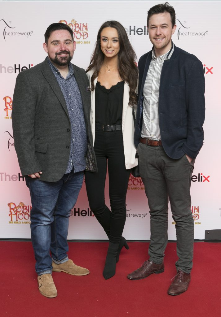 Pictured Karl,Elaine and Brian  at the opening night of The Helix Pantomime, Robin Hood on Saturday night.  Photo: Leon Farrell/Photocall Ireland.