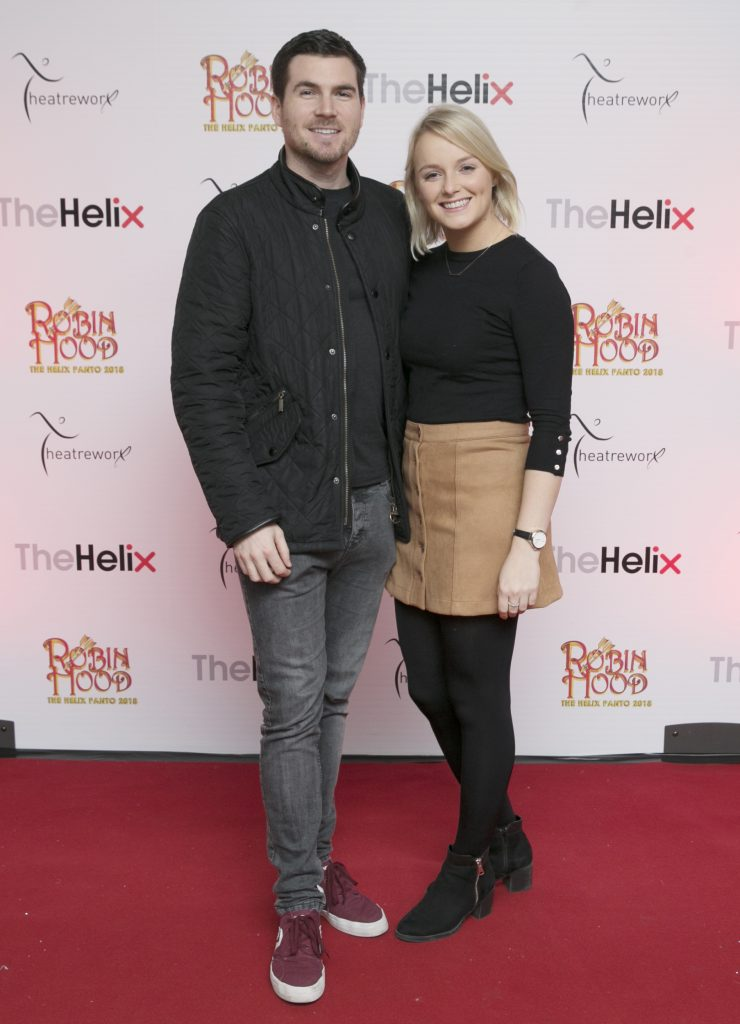 Pictured  David Branagan and Laura Mannion  at the opening night of The Helix Pantomime, Robin Hood on Saturday night.  Photo: Leon Farrell/Photocall Ireland.
