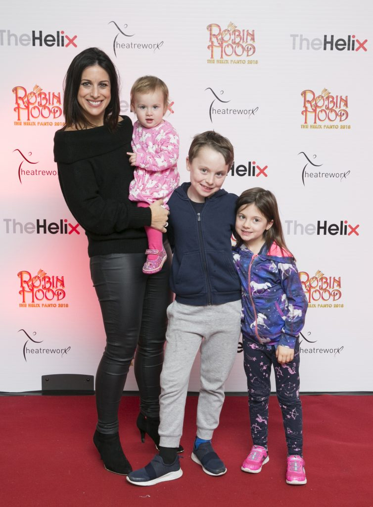 Pictured  Lucy Kennedy with her children Jack,Holly and Jess at the opening night of The Helix Pantomime, Robin Hood on Saturday night.  Photo: Leon Farrell/Photocall Ireland.