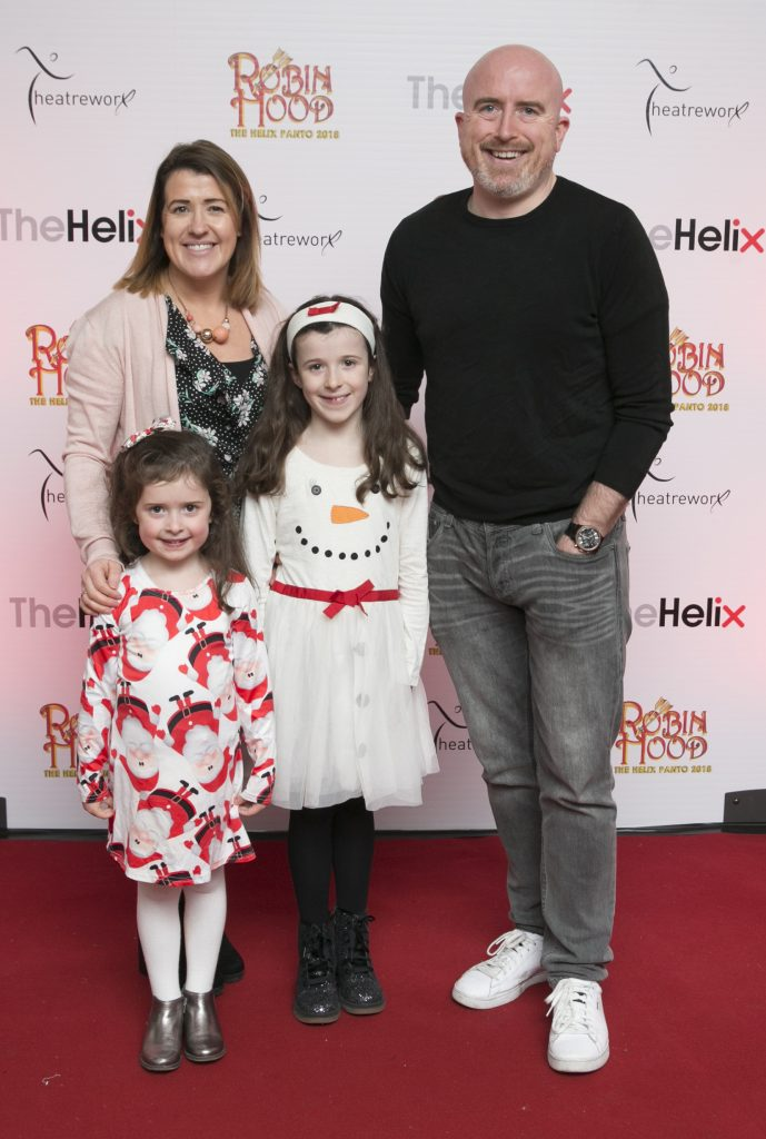 Pictured Daragh Kearny, Sandra,Chole and Mia  at the opening night of The Helix Pantomime, Robin Hood on Saturday night.  Photo: Leon Farrell/Photocall Ireland.