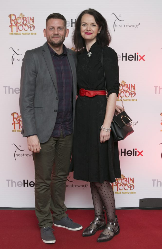 Pictured Ciaran Clstin and Sandra Hogan  at the opening night of The Helix Pantomime, Robin Hood on Saturday night.   Photo: Leon Farrell/Photocall Ireland.