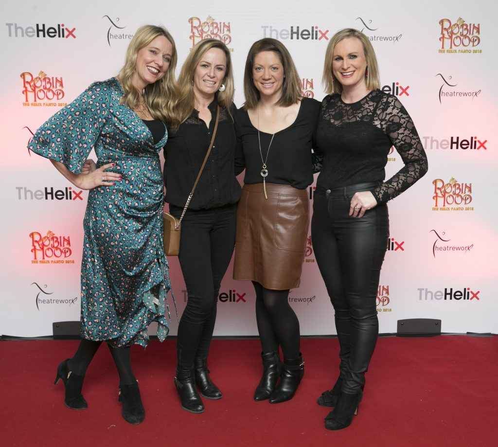 Pictured Claire Tighe,Clare Martin,Roisn Murphy and Gillian Lake at the opening night of The Helix Pantomime, Robin Hood on Saturday night.  Photo: Leon Farrell/Photocall Ireland.