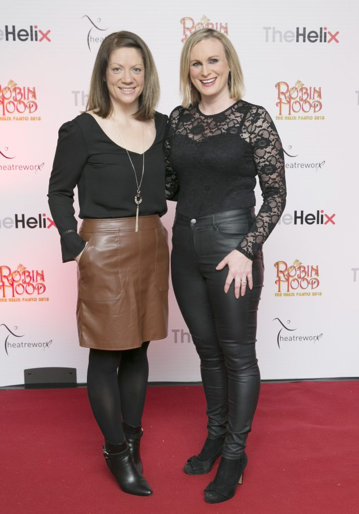 Pictured Roisn Murphy and Gillian Lake at the opening night of The Helix Pantomime, Robin Hood on Saturday night.   Photo: Leon Farrell/Photocall Ireland.