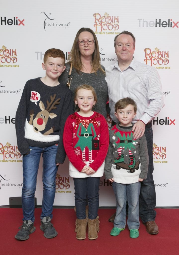 Pictured Deirdre Fergal with Jack,Lucy and Ethan  at the opening night of The Helix Pantomime, Robin Hood on Saturday night.  Photo: Leon Farrell/Photocall Ireland.