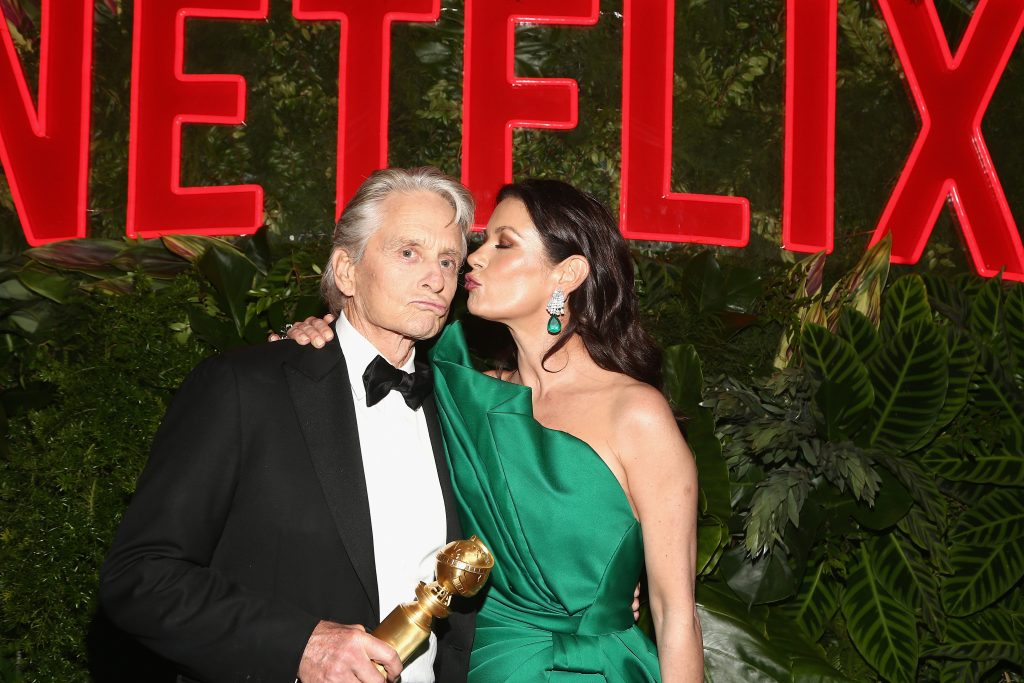 Michael Douglas (L) and Catherine Zeta-Jones attend the Netflix 2019 Golden Globes After Party on January 6, 2019 in Los Angeles, California.  (Photo by Tommaso Boddi/Getty Images for Netflix)