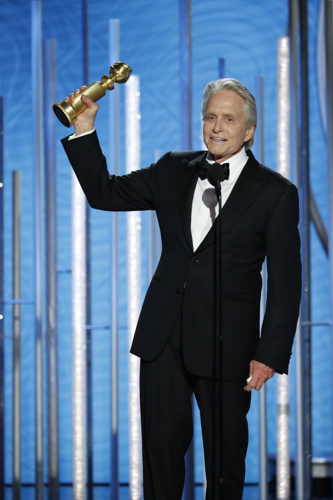 "Michael Douglas from the ""The Kominsky Method"" accepts the Best Performance by an Actor in a Television Series – Musical or Comedy award  onstage during the 76th Annual Golden Globe Awards at The Beverly Hilton Hotel on January 06, 2019 in Beverly Hills, California.  (Photo by Paul Drinkwater/NBCUniversal via Getty Images)"
