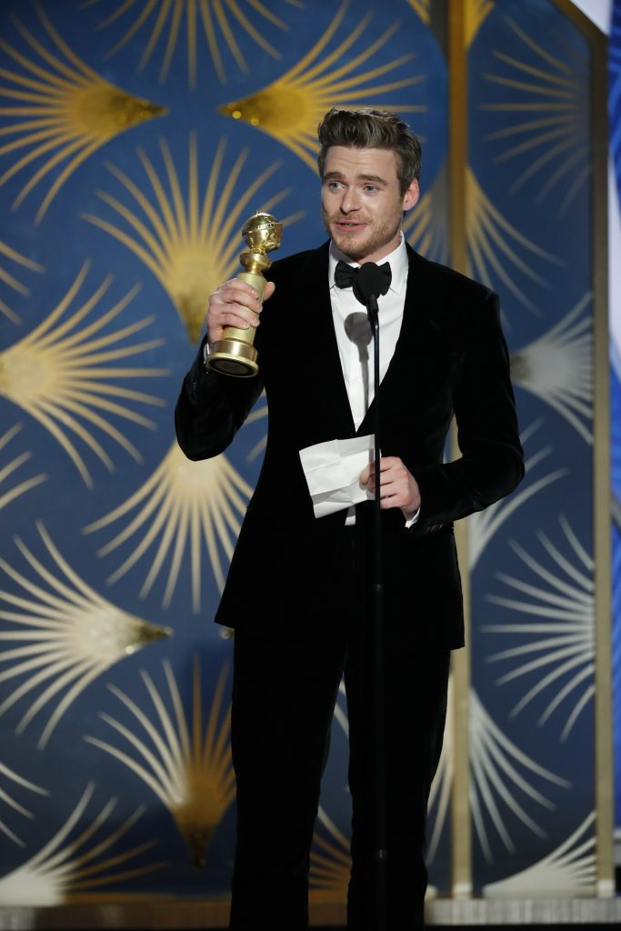 """Richard Madden from """"Bodyguard"""" accepts the Best Performance by an Actor in a Television Series – Drama award  onstage during the 76th Annual Golden Globe Awards at The Beverly Hilton Hotel on January 06, 2019 in Beverly Hills, California.  (Photo by Paul Drinkwater/NBCUniversal via Getty Images)"""