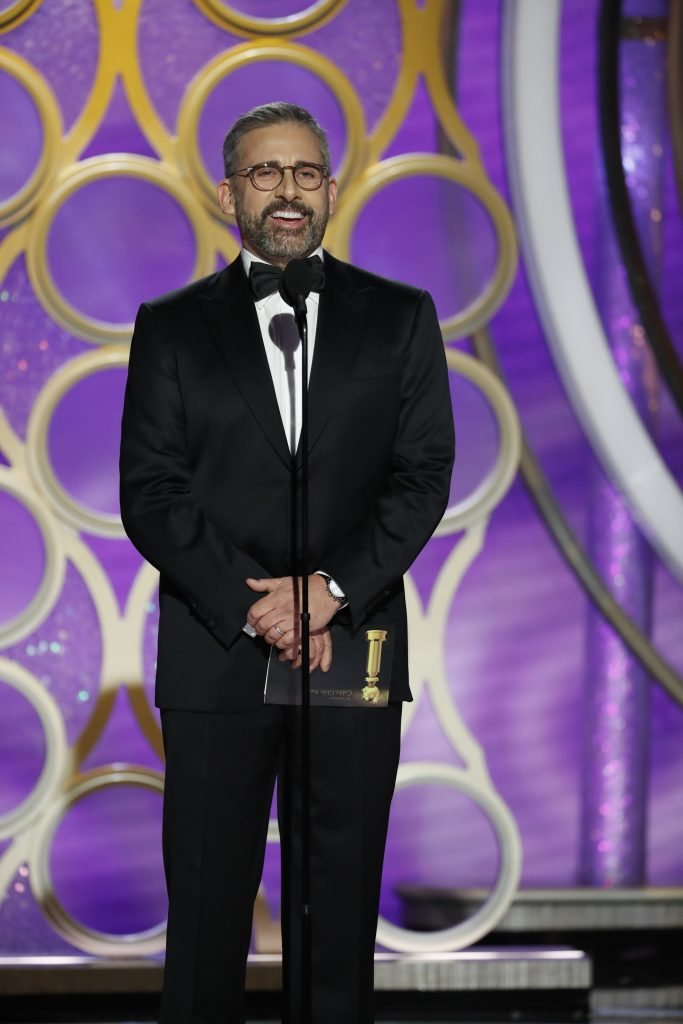 Presenter Steve Carell  speaks onstage during the 76th Annual Golden Globe Awards at The Beverly Hilton Hotel on January 06, 2019 in Beverly Hills, California.  (Photo by Paul Drinkwater/NBCUniversal via Getty Images)