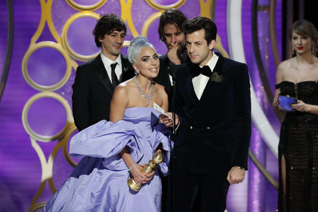"""Lady Gaga and Mark Ronson accept the Best Original Song - Motion Picture awards for """"Shallow""""  from """"A Star Is Born""""  onstage during the 76th Annual Golden Globe Awards at The Beverly Hilton Hotel on January 06, 2019 in Beverly Hills, California.  (Photo by Paul Drinkwater/NBCUniversal via Getty Images)"""