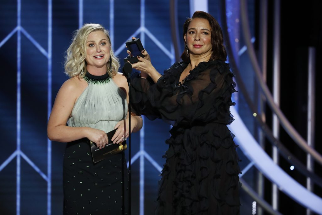 Presenters Amy Poehler and Maya Rudolph  speak onstage during the 76th Annual Golden Globe Awards at The Beverly Hilton Hotel on January 06, 2019 in Beverly Hills, California.  (Photo by Paul Drinkwater/NBCUniversal via Getty Images)
