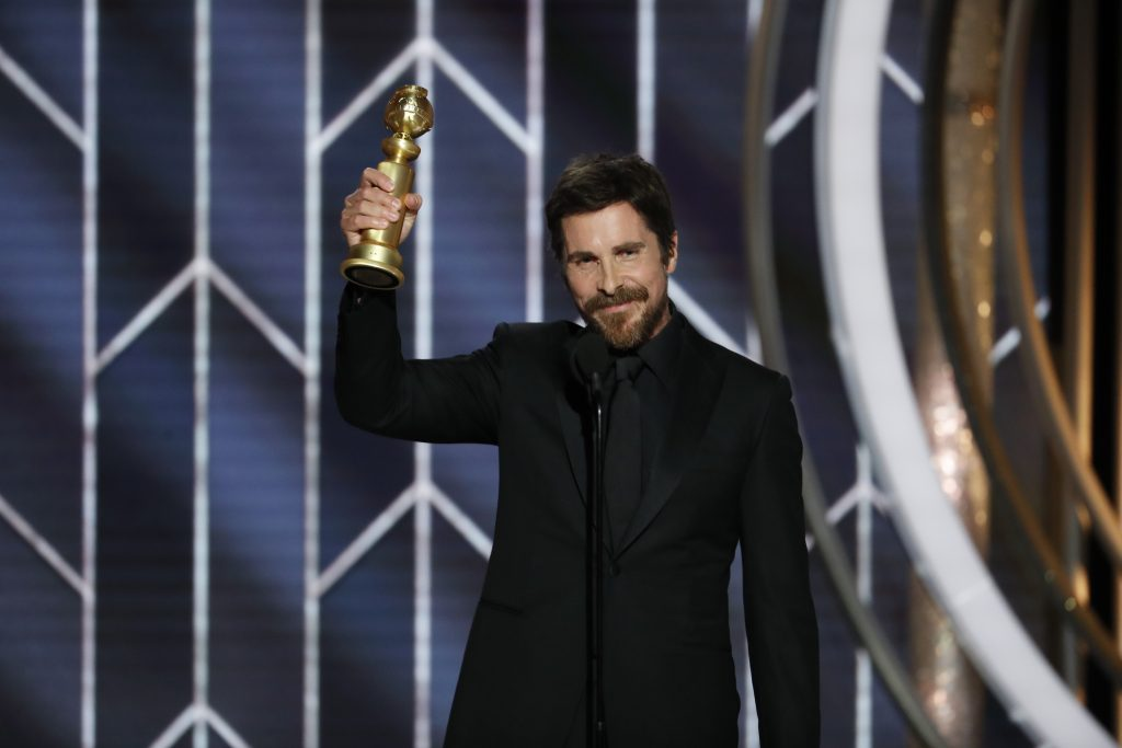 "Christian Bale from ""Vice"" accepts the Best Actor in a Motion Picture – Musical or Comedy award  onstage during the 76th Annual Golden Globe Awards at The Beverly Hilton Hotel on January 06, 2019 in Beverly Hills, California.  (Photo by Paul Drinkwater/NBCUniversal via Getty Images)"