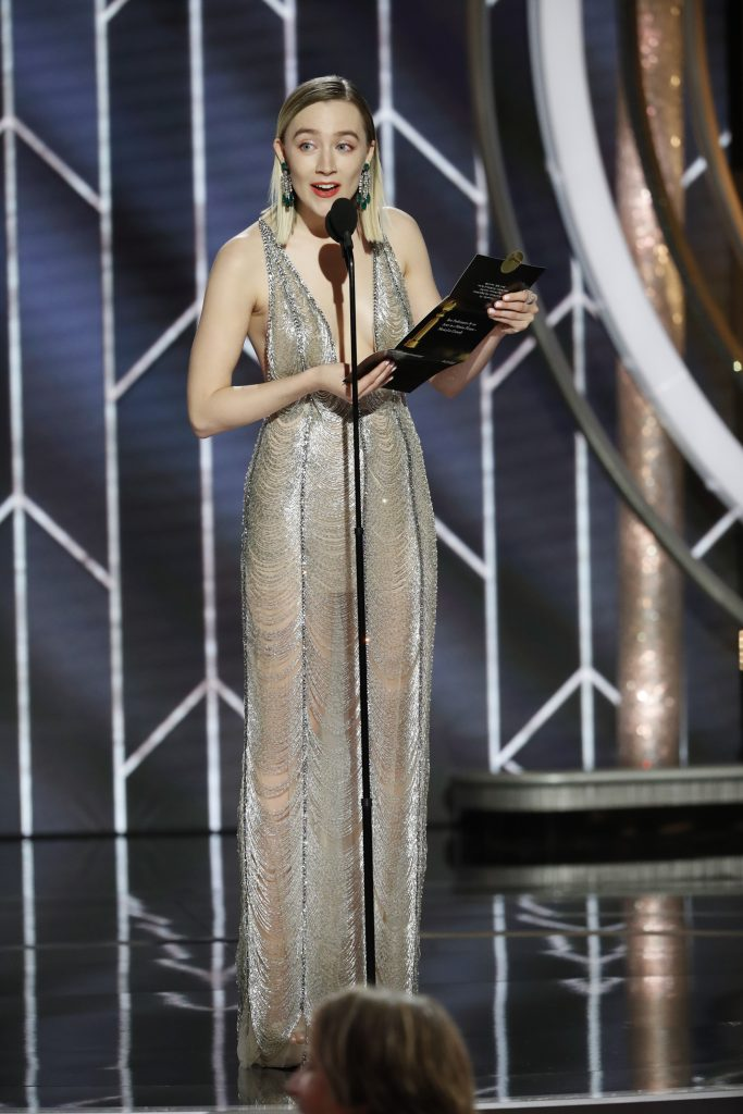 Saoirse Ronan  speaks onstage during the 76th Annual Golden Globe Awards at The Beverly Hilton Hotel on January 06, 2019 in Beverly Hills, California.  (Photo by Paul Drinkwater/NBCUniversal via Getty Images)