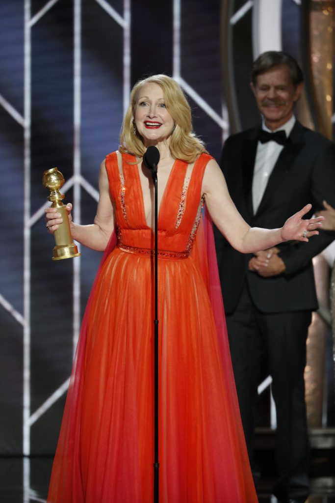 "Patricia Clarkson from ""Sharp Objects"" accepts the Best Performance by an Actress in a Limited Series or Motion Picture Made for Television award onstage during the 76th Annual Golden Globe Awards at The Beverly Hilton Hotel on January 06, 2019 in Beverly Hills, California.  (Photo by Paul Drinkwater/NBCUniversal via Getty Images)"